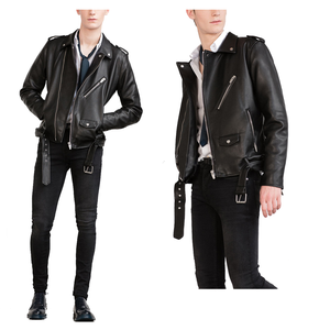 hot wholesale Biker jacket with zips and belt checkout men's fashion leather motorcycle coats washed jackets for men