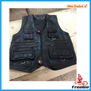 Multi pockets men's Leather Shooting Hunting Vest