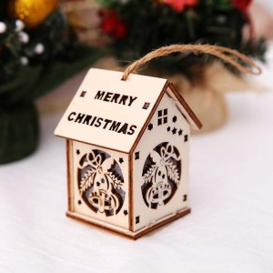 LED Light Wooden Hanging Ornaments for Christmas Holiday, Cute Wood House Christmas Tree Hanging Ornament Decoration