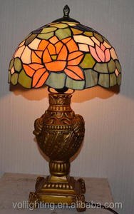 Cheaper antique real stained glass tiffany table lamp