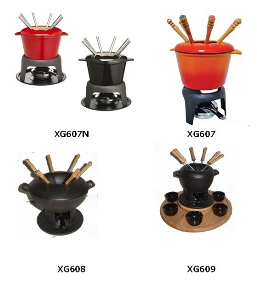 LFGB SGS FDA certification hot sale cast iron enamel fondue