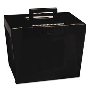 "Pendaflex Products - Pendaflex - Portable File Storage Box, Letter, Plastic, 14-7/8 x 11-3/4 x 11-1/4, Black - Sold As 1 Each - Modular stacking design with flip-down handle, integrated dual side grips. - Latch locks lid. - Holds up to 20 letter size, 1/2"" capacity hanging folders (not included)."