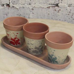 French cheap decorative cup and saucer planters / novelty terracotta garden planter