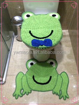 crochet frog pattern toilet seat cushion set handmade knitted toilet lid cover u0026 bathroom rug