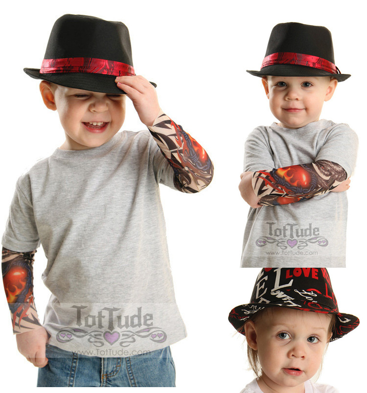 Mode Kinder Spandex Kompression Tattoo Ärmel Für Kühle Kind Nylon Stretchy Kid Temporäre Tattoo Sleeves Arm Strümpfe Tattoo