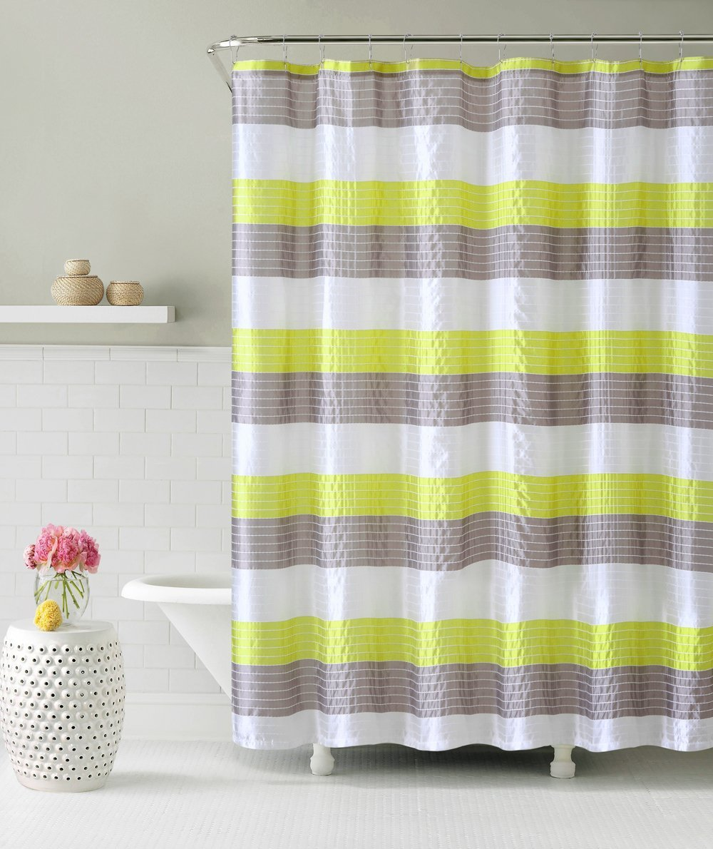 Beautiful Fabric Shower Curtain: Stripe Design (Lime Green Gray)