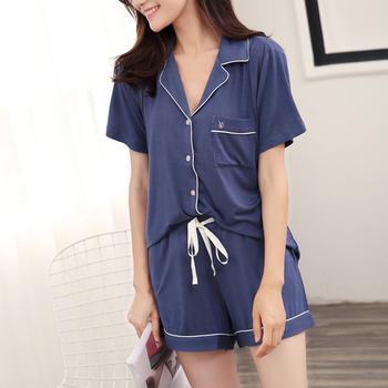 945350eb4e0 Women Sleepwear Summer Shorts Sets Cotton Nightwear women s Pajamas sets  Sexy Nighty