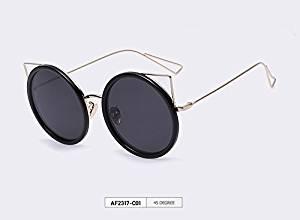 AOFLY New Women Cat Eye Sunglasses Vintage Round Metal Sun Glasses for Women Popular Summer Style Cat Eyes Shades Gafas De Sol