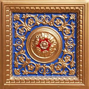"""Decorative Suspended Ceiling Tile #215 Navy Blue Gold Red 3 Dimension,depth 1"""" Drop Ceiling & Glue up 24""""x24"""" PVC Pack of 10 Ceiling Tiles Class """"A"""" Fire Rated!"""