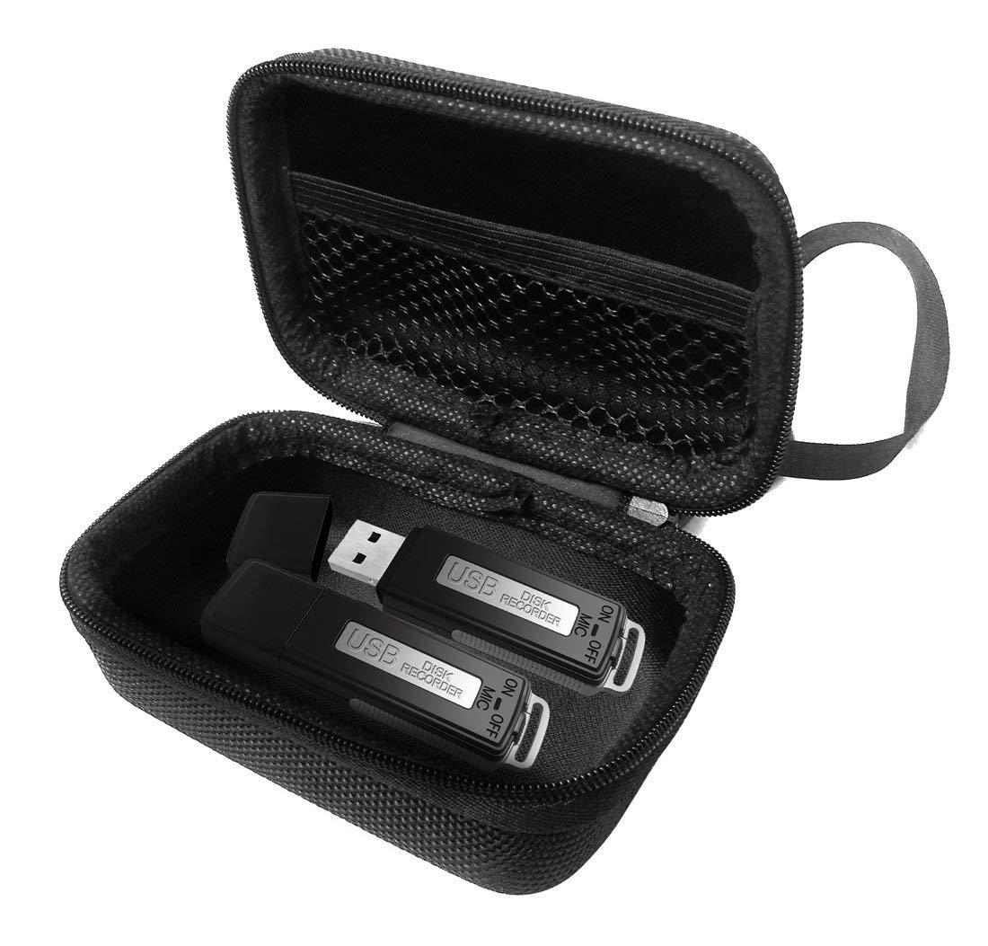 FitSand Hard Case for FlatLED Digital Audio Voice Recorder USB Pen Drive 150 Hours Travel Zipper Portable Carry Protective Cover Box