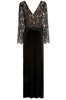 7655d924c448 2014 Elegant Lace Long Sleeve Black Velvet Evening Dress For Women ...