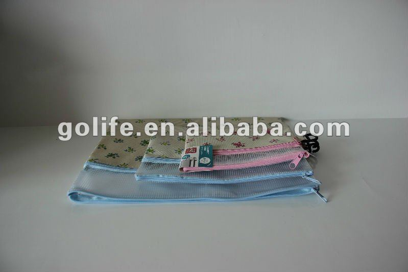 fashion zipper nonwoven & PVC stationery bags