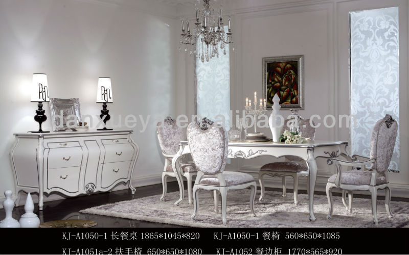 Royal Luxury Fabric Silver White Dining Room Table And Chairs Kj ...