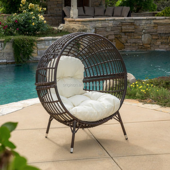 Airy Ball Shaped Cane Outdoor Balcony Furniture Plastic Wicker Round Lounge  Chair