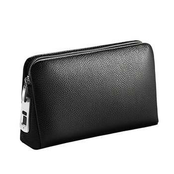 BUBM Business Long Fingerprint Zipper Closure Black Genuine Leather Men Clutch Bag