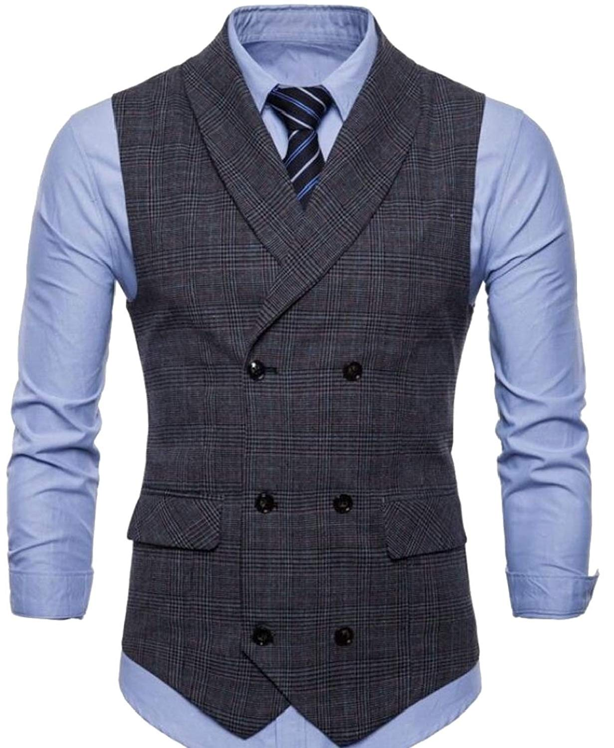 M/&S/&W Men Business Basic Plaid Suit Vest Double Breasted Slim Fit Dress Waistcoat