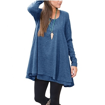 Wholesale Autumn Winter Plus Size Fashion Women Casual Scoop Neck Long Sleeve Blouse Loose tops Tunic