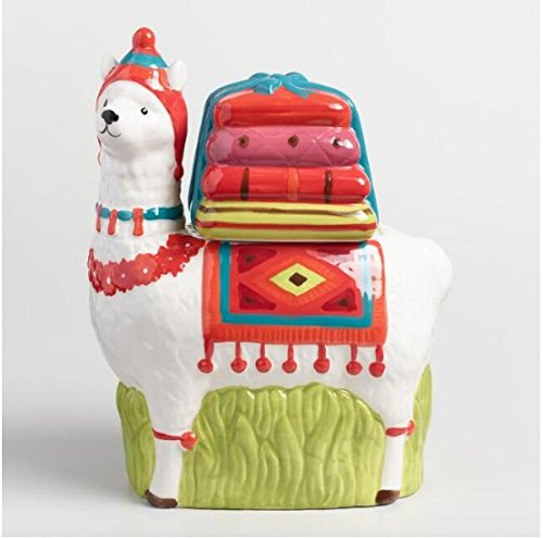 CP Technology Ceramic Llama Cookie Jar, Novelty Ceramics, Kitchen Canister, Cookie Jar With Airtight Lid For Food Storage, Store Cookies, Crackers, Chips and More