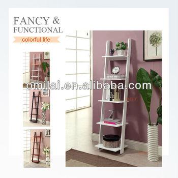 White Bookshelf Wooden Simple Design Bookcase Ladder