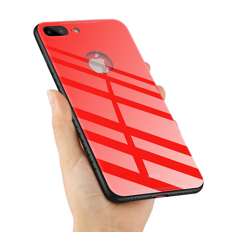5 Colors phone accessories mobile case PC glass Cover beautiful phone case with scale for Apple iPhone X 8 8Plus Covers