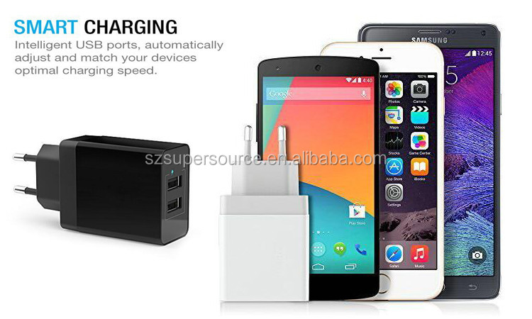 USB Dinding AC Charger, 3.1A 15 W Dual Port USB Dinding AC Charger Adapter untuk Apple iPhone 6 S/6 S Ditambah
