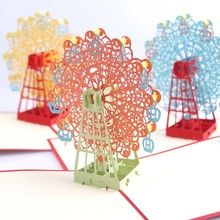 funny 3d fly ferris wheel pop up handmade greeting cards