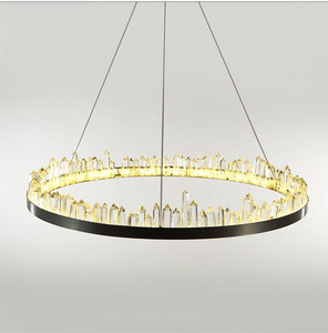European Design CE Certified Yellow Lighting Pendant Lamp Interior Clear Crystal decoration Steel Cord Suspension Chandelier