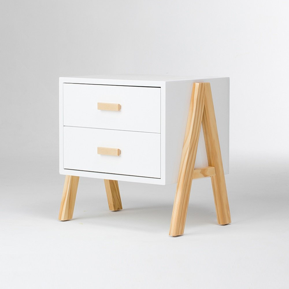 PM-Nightstands Bedside Table Sofa Side Tables Solid Wood Bedroom Storage Cabinet Bedside Drawers Lockers Multi-purpose Storage Cabinet Bedroom Bedside Cabinet Modern Bedroom Furniture (Color : White)