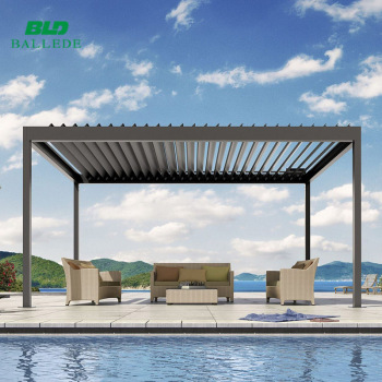 im freien wasserdichte aluminium pergola pavillon mit einstellbare lamellen dach buy pavillon. Black Bedroom Furniture Sets. Home Design Ideas