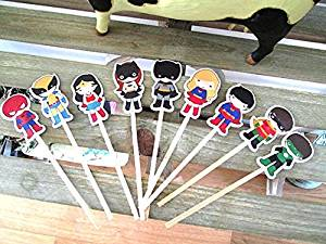 Buy Superhero Cupcake Toppers Super Hero Birthday Party Decorations