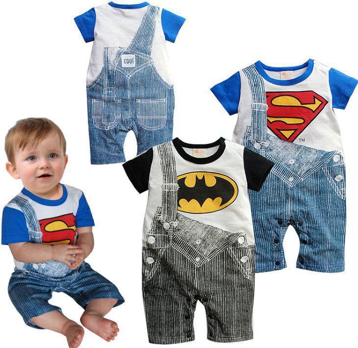 97777aa39 Cute Summer Newborn Clothes Baby Suit Boys Superman Batman Romper ...