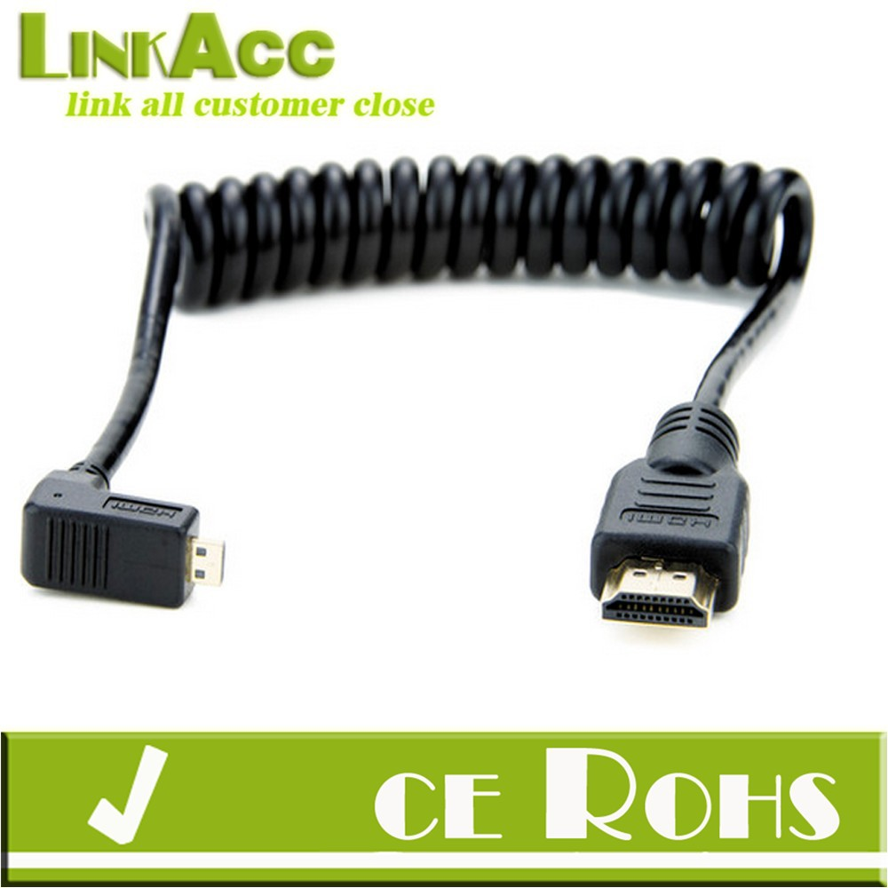 Linkacc1HT Right Angle Micro coiled HDMI to Coiled HDMI Cable Full Size HDMI 1.4V