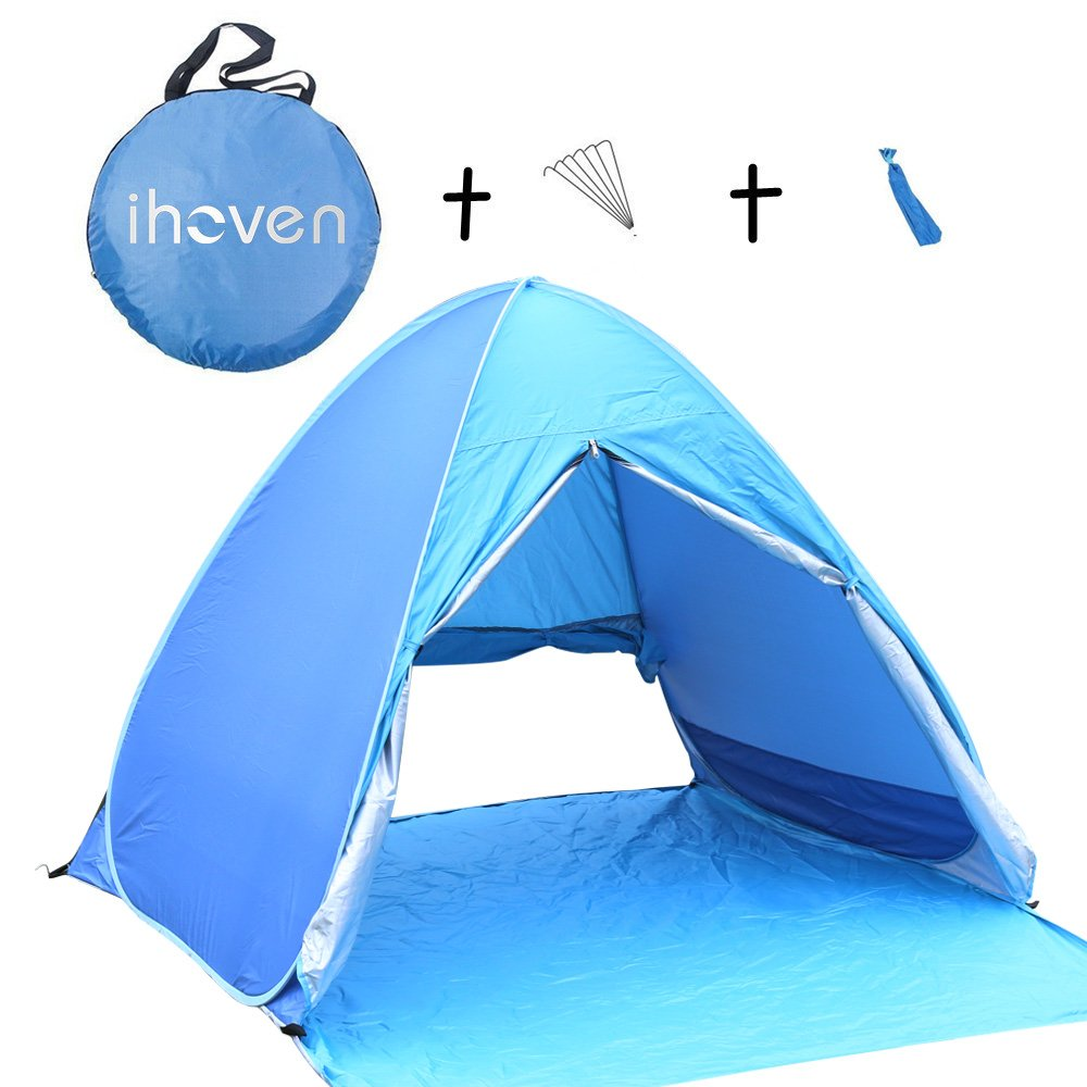 ihoven Pop-up Beach Tent, 2-3 Person Automatic Instant Setup Anti-UV Sun Shade Shelter 3 Seasons Light-Weight Backpacking Canopy Camping Dome Water-Proof Hiking Shelter Cabana Tent with Carrying Bag