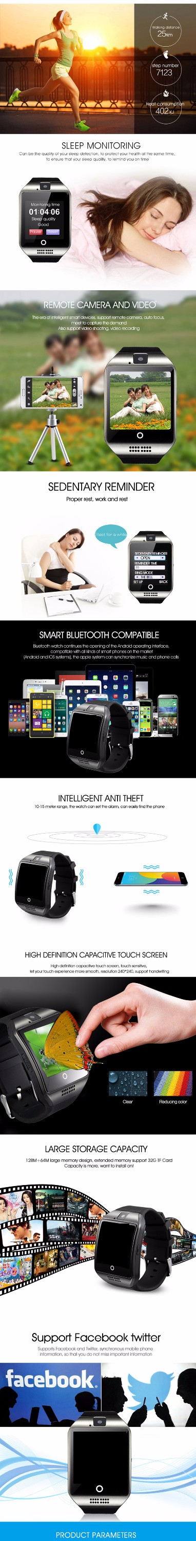 q18 smart watch android bluetooth with heart rate monitor, View q18 smart  watch, OEM Product Details from Shenzhen Xinyueda Technology Co , Limited  on