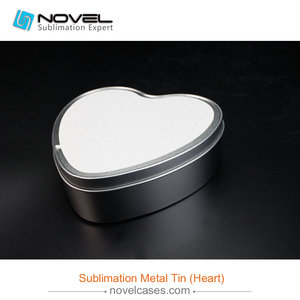 Sublimation printing white tin box,heart metal tin