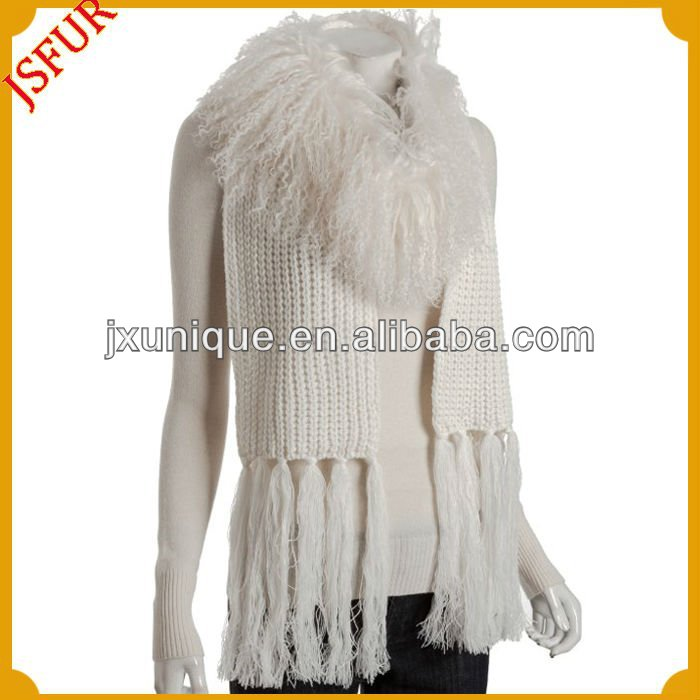 White and black long knitted mongolian fur scarf