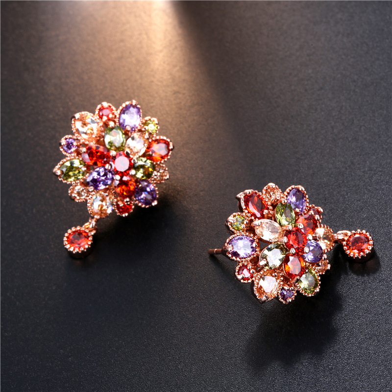 Stylish colored bride earrings cz bridal earrings for wedding