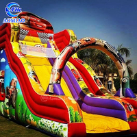 Cheap kids play outdoor inflatable slip n slide bouncy castles with slide