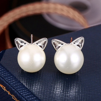 Cute Cat Ear White Gold Plated Imitation Pearl Earrings Studs Animal For S Flat Stud