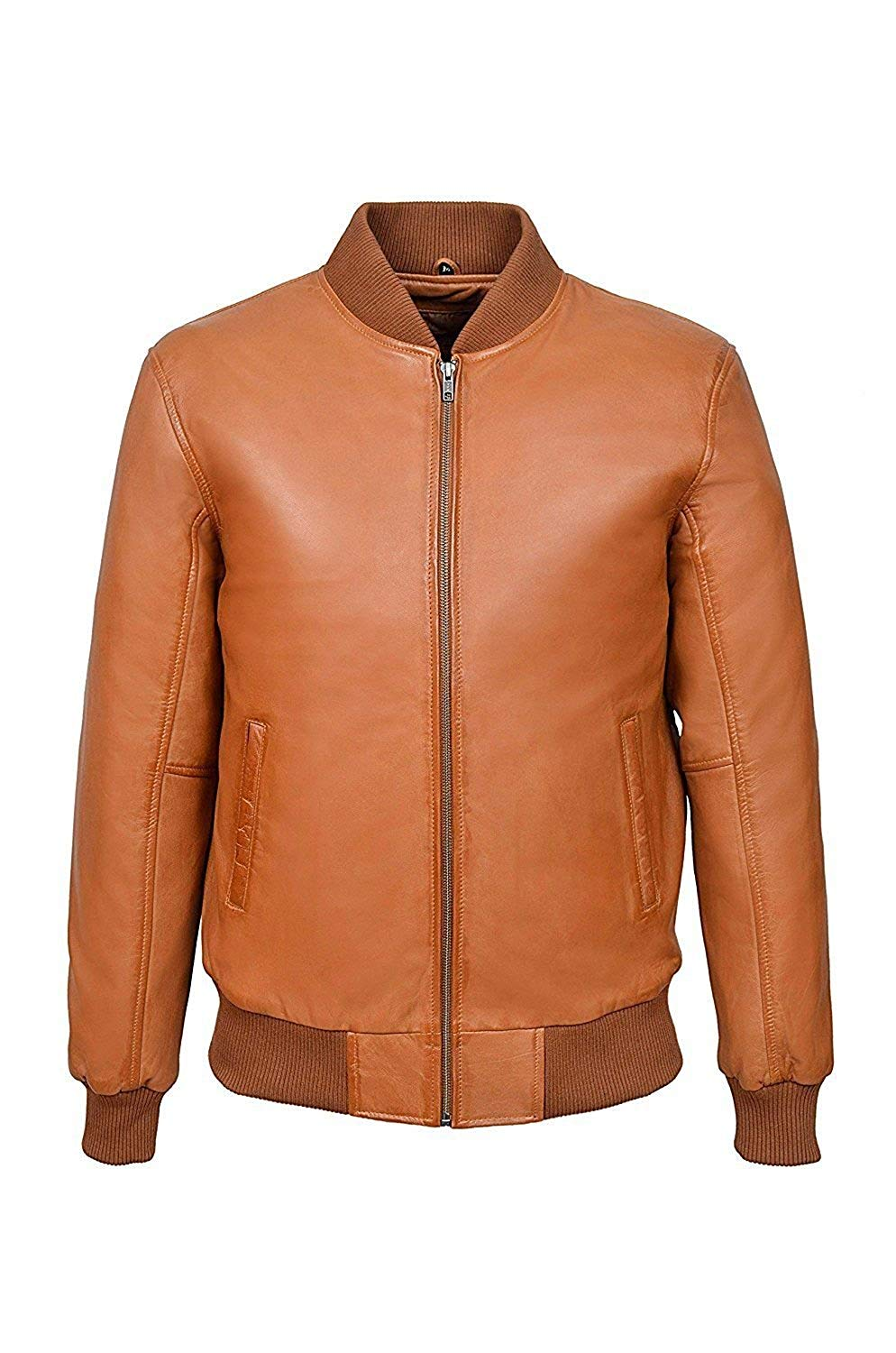 Leather Jacket Men 70's Classic Bomber Plain Biker Style Italian Fitted Brown Napa Waxed