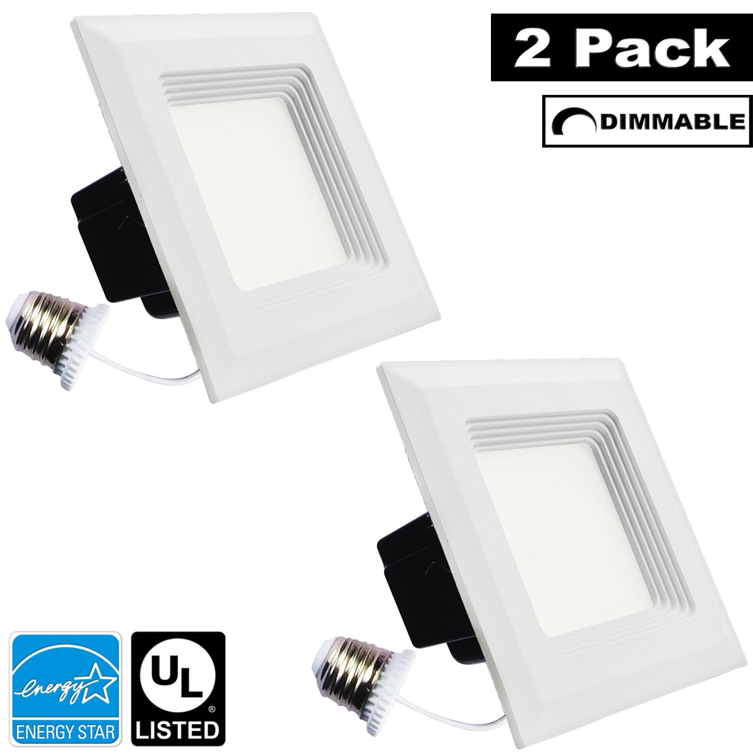 Luxrite LR23037 (2-Pack) 15W 5/6 Inch LED Square Retrofit Downlight, 120W Equivalent, ENERGY STAR, Dimmable, Soft White 3000K, Recessed LED Ceiling Light, UL Listed