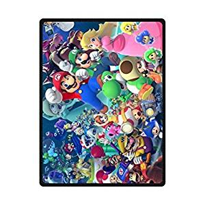 Sunfloweru Cartoon Super Mario Bros Custom Blanket 58X80 Inch Fleece Blanket Machine Washable Blankets (Large)