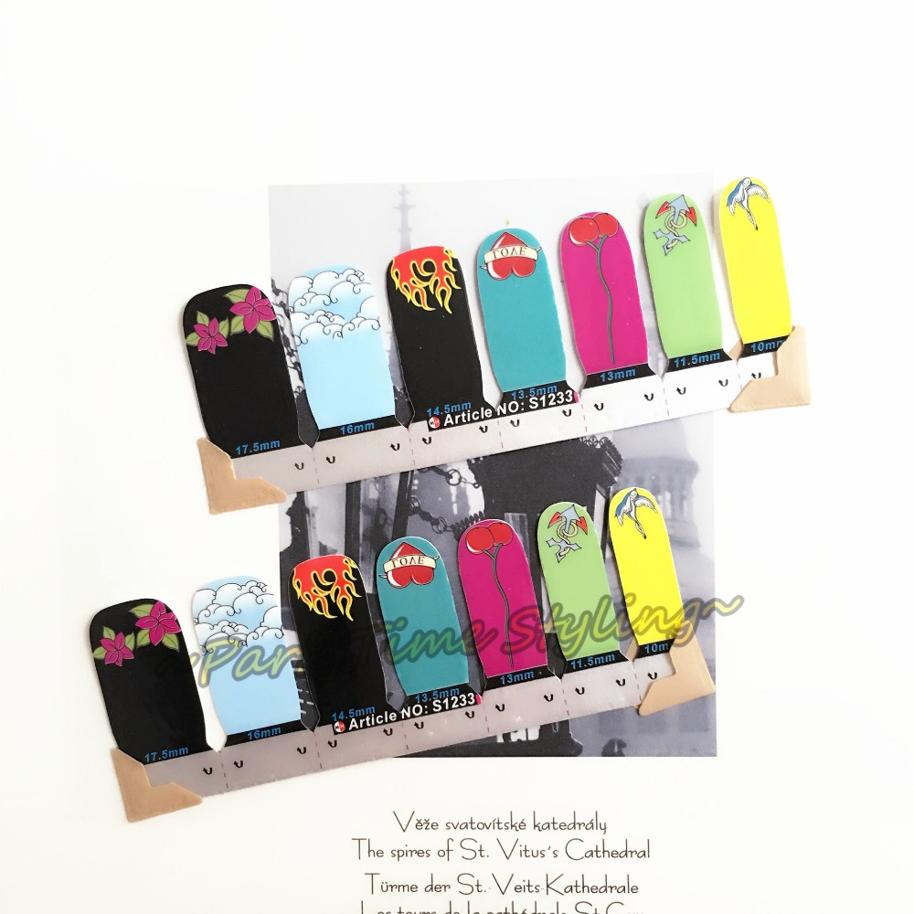 Love Fire Heart Nail Art Sticker Patch 14 pcs set Waterproof Decals Foils Gel Polish French