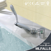 Bathroom fittings chrome polished 4-holes Waterfall tap hand shower head for tub