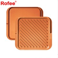 Die Casting Aluminum Square Nonstick Fry Griddle Double Sided Grill Pan