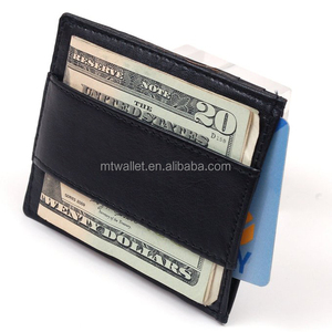 Money Clip Genuine Leather Super Thin Slim Cash Strap Wallet