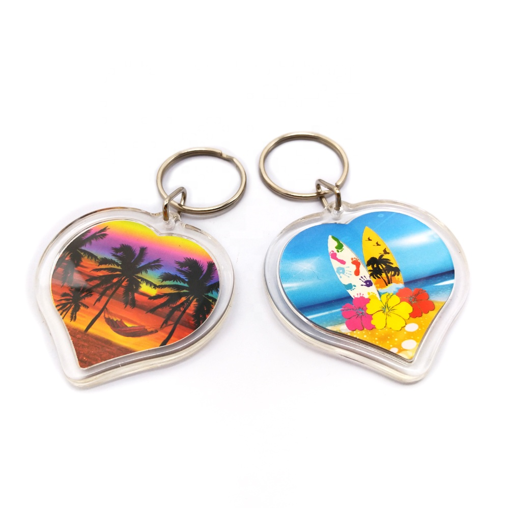 wholesale promotion hotel customer printed clear plasti simple design of acrylic keychain with liquid inside round
