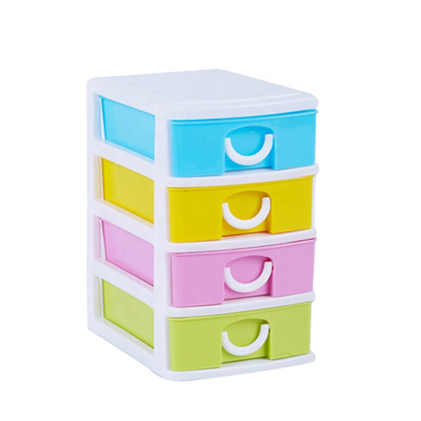 colorful plastic 4 layer mini drawer home storage for organization