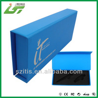 Book Style Box Matt Lamination With Logo Printed Blue Cardboard Pen Gift Box With EVA Tray