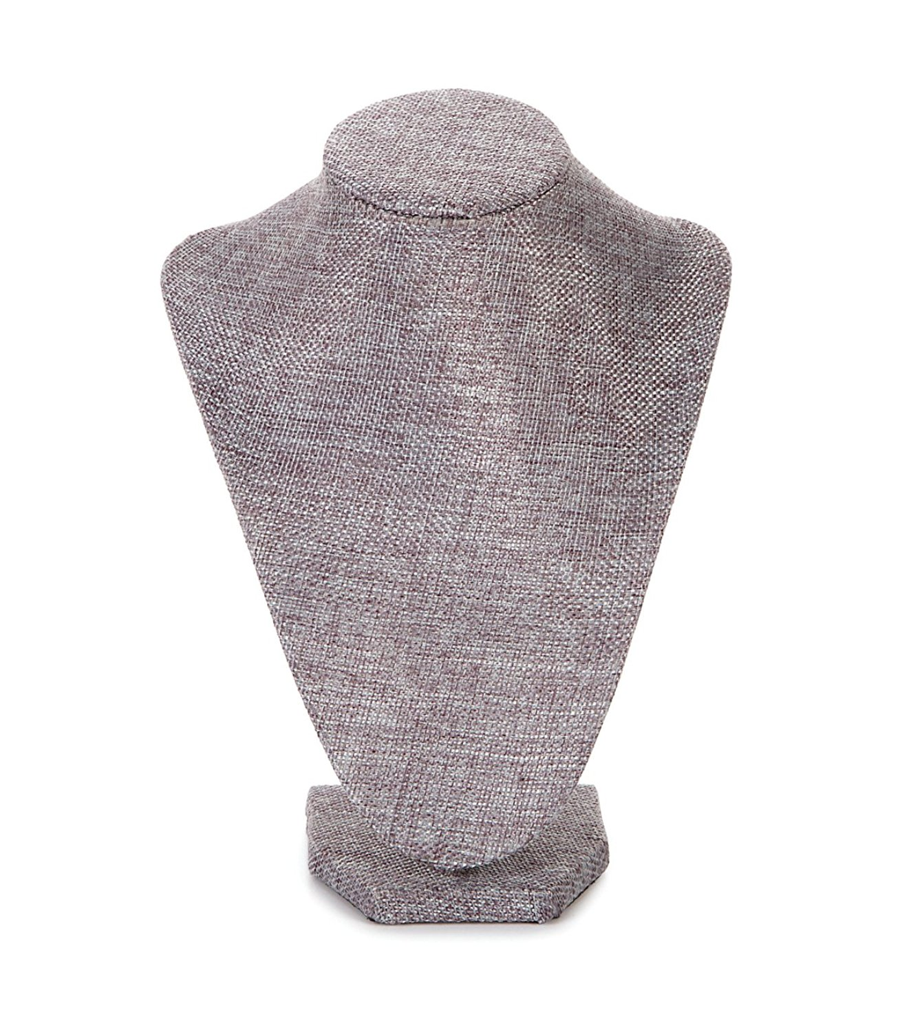 Rj Displays Grey Linen Necklace Bust Jewelry Display Stand Extra Tall For Large